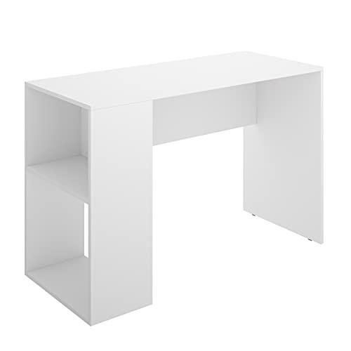 Homely - Mesa Escritorio Juvenil Chic Tablero de partículas melaminizado Color Blanco 115x50x74 cm