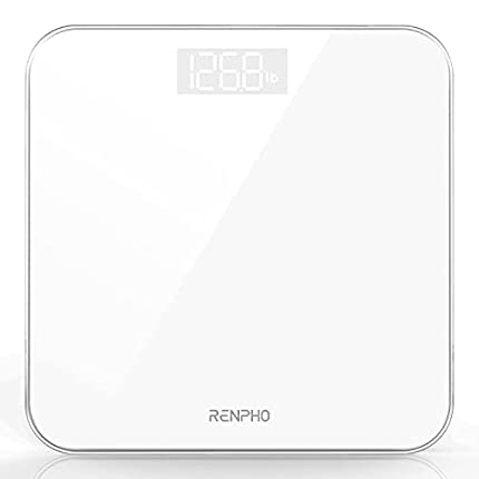 Báscula De Baño Digital RENPHO, Báscula De Peso Corporal De Alta Precisión Con Pantalla Iluminada, Tecnología Step-On, 400 Lb, Blanco