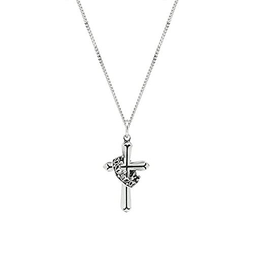 Collar Cruzado Plata 925 Cadena Clavícula Corona Suerte Joyería Acción Gracias para Mujer