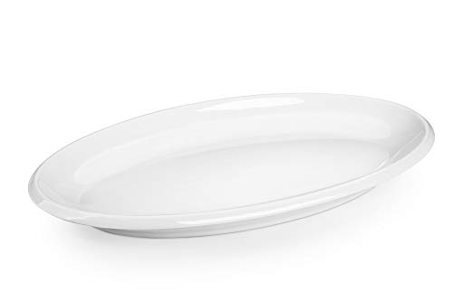 DOWAN 14 Inches Porcelain Oval Platters White Serving Plates Stackable - 2 Packs