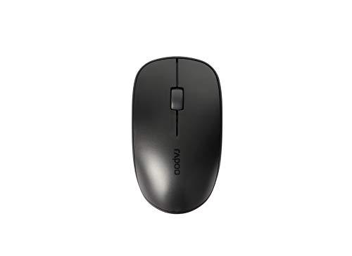 Rapoo M200 Silent kabellose Maus, Bluetooth und Wireless (2.4 GHz) via USB, Funkmaus, leise Tasten, 1300 DPI, schwarz