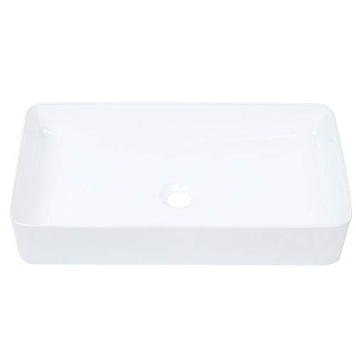 Lavabo d'Appoggio Rettangolare per Bagni, Lavandino Bagno Design Moderno in Ceramica con Foro di Scarico Bianca - Senza Fori per la Rubinetteria - 61x35x10cm