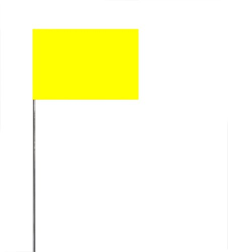 Swanson FYG21100 2-Inch by 3-Inch Marking Flags with 21-Inch Wire Staffs, Yellow Glo 100 Pack