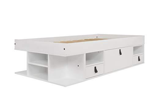 Cama Funcional Bali 90x190 cm Blanco - Estructura con Mucho Espacio de almacenaje y cajones, Ideal para dormitorios pequeños - Madera Maciza de Pino y MDF Lacado - Incl. somier de Madera