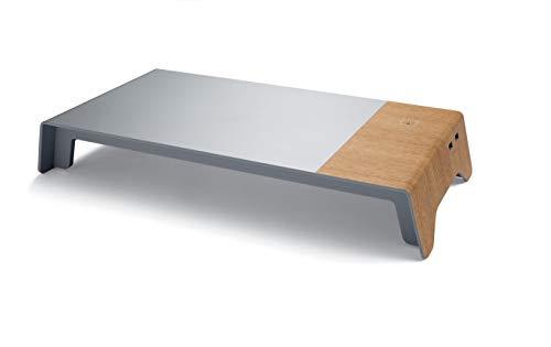 SIGEL SA405 Base para monitor con puente USB & cargador de inducción, moderno aspecto de madera y metal, material acrílico, 52 x 25 x 8 cm