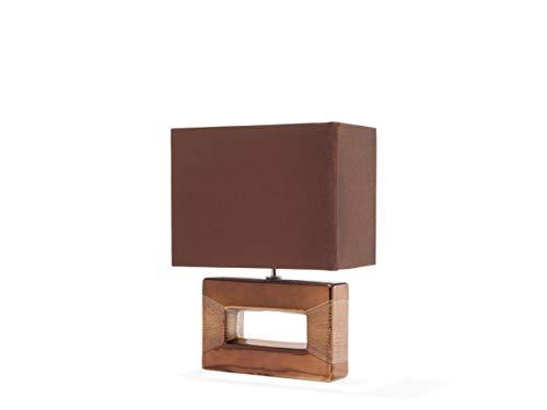 Beliani Trendy Tischlampe dekorrativer Lampenfuß rechtseckig Kunstseide/Porzellan braun Onyx