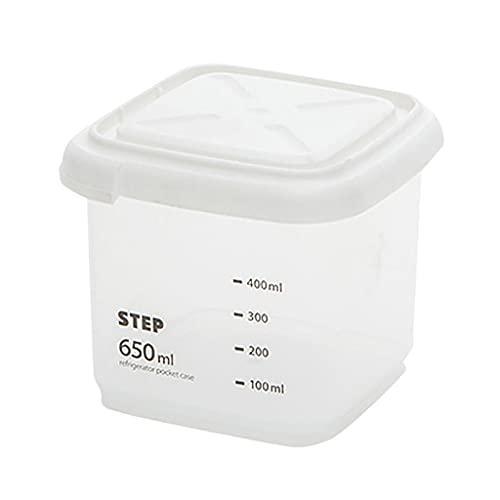CWYP-MS 5 Capacidad Diferente Capacidad de plástico Caja de Almacenamiento de Cocina Caja de Almacenamiento Transparente Alimento Recipiente Mantenga Fresco Nuevo contenedor Claro (Size : 650ml)