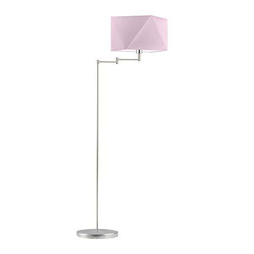 Santiago - Lámpara de pie con pantalla de lámpara, marco de acero cepillado