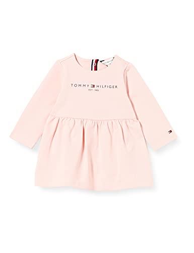 Tommy Hilfiger Baby Essential Dress L/S Vestido, Rosa Delicado, 56 cm para Bebés