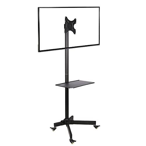 Ergosolid Standfuß mit Rollen, verstellbar, für LCD-Fernseher, 19 - 37 Zoll, bis 20kg, VESA-Normen von 75 x 75mm bis 200 x 200mm, Schwarz, 19