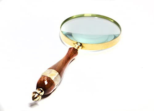Capital International Antique Magnifier 10X Reading Magnifying Glass with Handmade Wooden Handle for Reading Book & Inspection