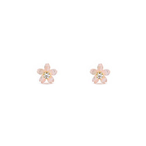 Orecchini per Bambini fiore rosa madreperla - oro giallo 18k (750)