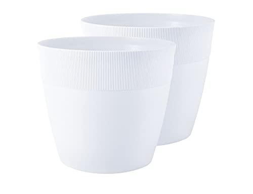 TYMAR Set di 2 vasi per piante in plastica, moderni, opachi, rotondi, ø 21 cm