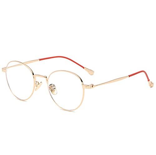 LQG Nuevos Gafas de Marco Hembra Retro Espejo óptico Delgado de Moda Coreana,Oro