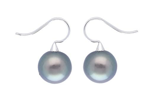 Pendientes de perlas de Tahití de 13 x 25 mm con gancho de oro blanco de 18 quilates