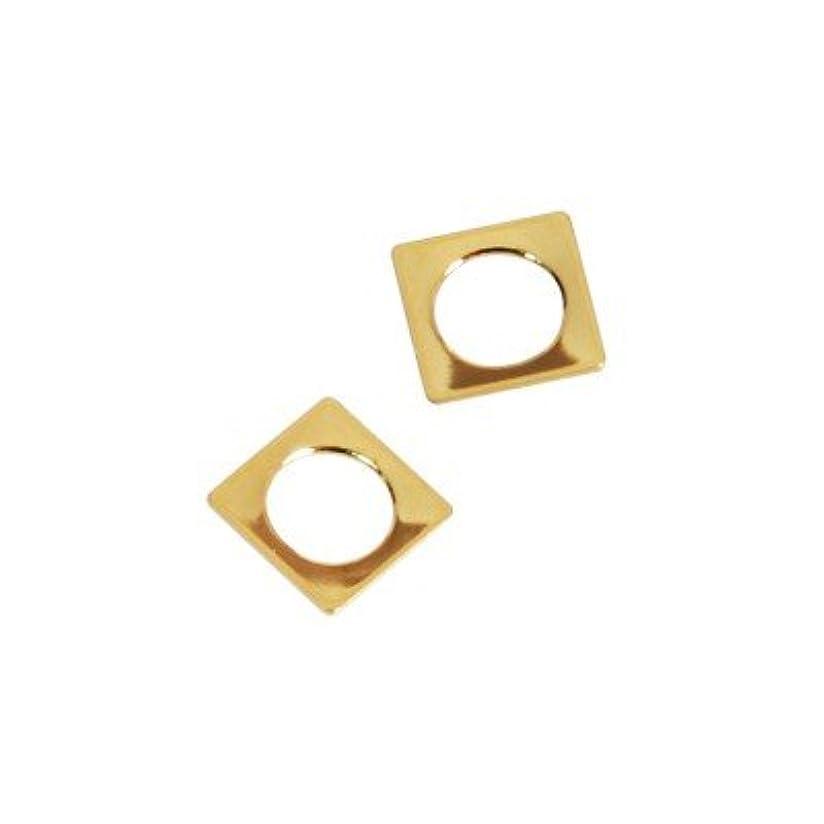 ミリメートル寸前美しいピアドラ スタッズ スクエア 中抜き(ラウンド)4mm 50P ゴールド