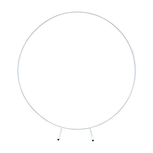 DXDUI Circle Wedding Decorative Arch Flower Shelf Background Decoration Props Arch Made of Iron Suitable for Weddings Birthday Parties Party Baby Shower,White,2.4m