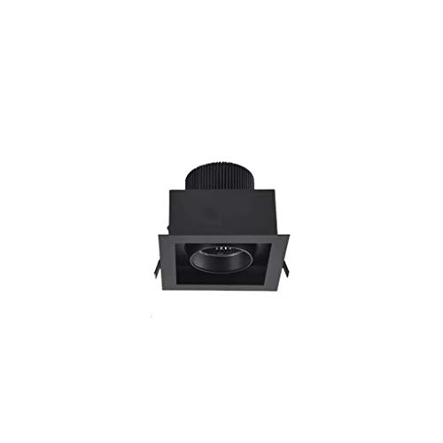 ZCX 6 Packs-Concealed Spotlights Embedded LED Downlight Square Bold Light Grille Living Room Ceiling Light Corridor Aisle Bull Eye Light Downlight (Color : Black (Warm Light), Size : 15w)
