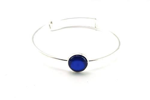 Stechschmuck Armband Armreif Handmade Blau Dunkelblau Silber Farben Damen Kinder Kitsch Kawaii 14mm