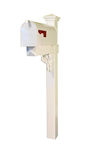 4Ever Products The McRae White Vinyl/PVC Mailbox Post (Includes Mailbox)
