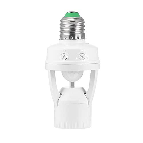 HHF LED Bulbs Lamps, Lámpara LED Sensor de Motion Sensor PIR Sensor DE PIR E27 110V - 220V con Interruptor de Control de luz Interruptor Infrárodo Bombilla de inducción Zócalo (Color : Blanco)