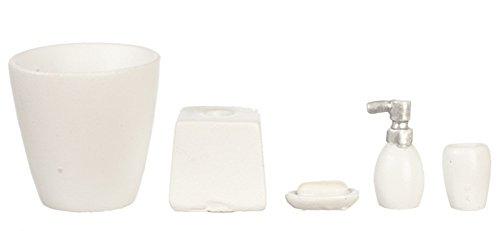 Houseworks, Ltd. Maison de Poupées Miniature Moderne Blanc Salle Accessoire Ensemble Poubelle Savon 5 PC