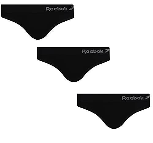 Reebok Womens Seamless Brief Raina 3pk Black Capa de Base Inferior, Negro, L para Mujer