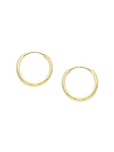 Pendientes de aro de oro amarillo 333 (8 quilates) con patrón de 15 mm de diámetro, pendientes de mujer Leyla C-04110-G306-15 mm/1,2 mm