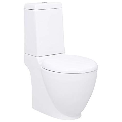 vidaXL WC Keramik Toilette Badezimmer Rund Soft Close Absenkautomatik Senkrechter Abgang Weiß