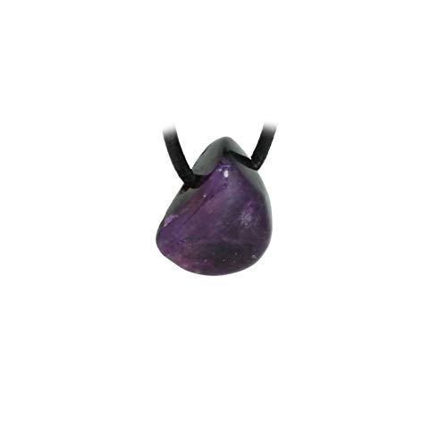 21qBalBLlLL - budawi® - kleiner Sugilith Trommelstein Anhänger gebohrt mit Lederband, Sugilithstein
