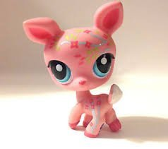 Littlest Pet Shop PostCard Pets Pink Decorated Deer #1356 (Pink, Blue Eyes) - Littlest Pet Shop (Retired) Collector Toy - LPS Collectible Replacement Figure - Loose (OOP Out of Package & Print)