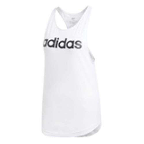 adidas Women's Essentials Linear Loose Tank Top, White/Black, Medium