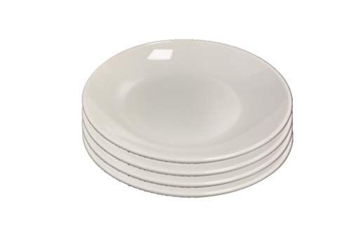 Set of 4 All For You Melamine Deep Dinner Plates White Everyday Use Dinner Dishes Set (8')
