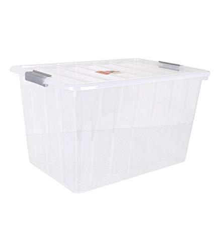 BigBuy Home Caja De Almacenaje con Tapa Thais 80 L Transparente