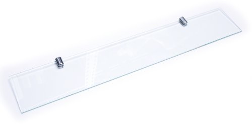Estante de vidrio endurecido con acabado cromado, 400mm x 100mm, 6mm de espesor