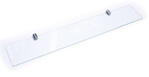 Mensola di vetro, spessa 6mm, vetro temperato, supporto con finitura cromata, 400x 100mm.