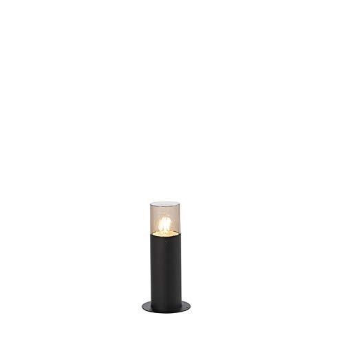 QAZQA Modern Moderne AußenStehleuchte/Stehlampe/Standleuchte/Lampe/Leuchte 30 cm schwarz - Odense/Außenbeleuchtung Edelstahl/Kunststoff Zylinder LED geeignet E27 Max. 1 x 13 Watt