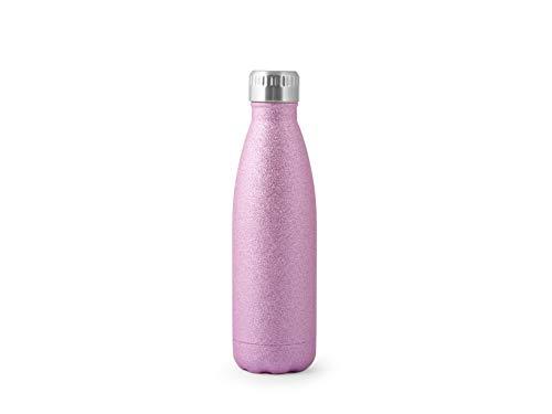 H&H Botella térmica de acero inoxidable 18/10 sin BPA, botella de agua reutilizable, para adultos y niños, termo de metal para bebidas calientes, frías con atractivo diseño 500 ml, Fucsia/Purpurina