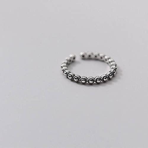 Good dress Anillo de plata S925, para mujer, simple, pequeño, redondo, cuentas abiertas, joyería de plata pura, apertura ajustable