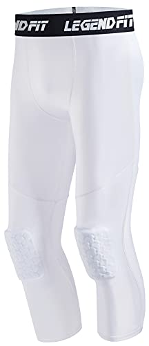 COOLOMG Basketball Leggings mit Kniepolster für Herren 3/4 Kompressionshose Sporthose Weiß L