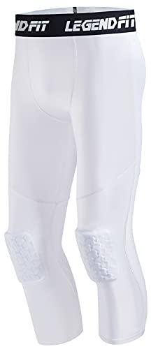 COOLOMG Leggings de baloncesto con rodilleras acolchadas para hombre, pantalones de compresión 3/4, mallas de deporte Blanco L