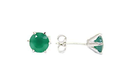 PH - Pendientes de tuerca para mujer, plata de ley 925, ónix verde, piedra preciosa P 107