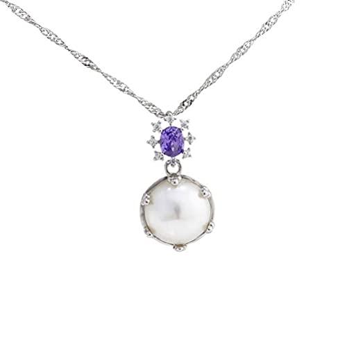 GYUFU Collar de Regalo para Mujer Accesorios S925 Colgante de Perlas de Plata Esterlina para Mujer Diy Accesorios de Soporte Vacío Collar de Clavícula,Cadena, Plata 925