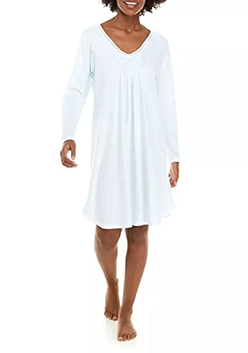 Miss Elaine Women's Short Knit Nightgown with Long Sleeves (Small) Blue