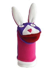 "Cate and Levi 12"" Handmade Softy Bunny Hand Puppet (100% USA Polar Fleece)"