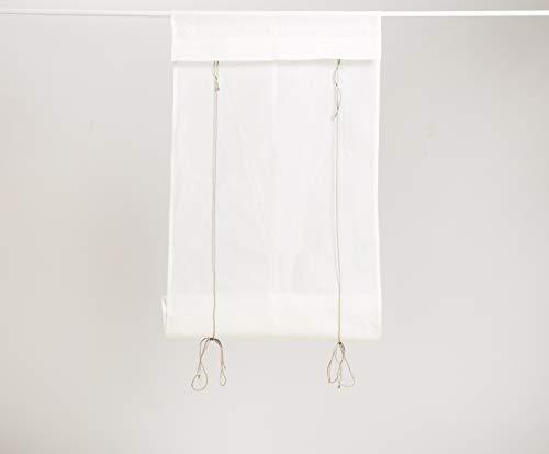 SP S.a.s. Raffrollo aus weißem Organza aus Baumwolle mit Bändern aus Naturleinen - Made in Italy