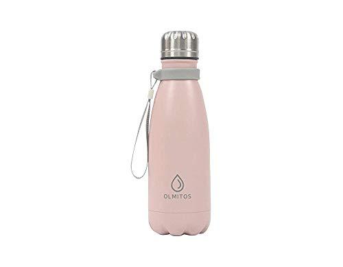 Olmitos - Botella termica inox, 350 ml, color rosa