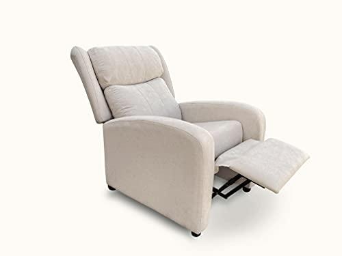 Sillón butaca reclinable Acolchado. Sillón Respaldo reclinable y reposa pies (Beige)