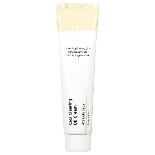 PURITO Cica Clearing BB Cream #21 Light Beige 1 fl.oz / 30ml, Vegan bb cream, tinted
