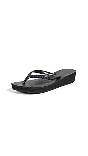 Havaianas Women's High Light Flip Flop Sandal, Black, 8 M US